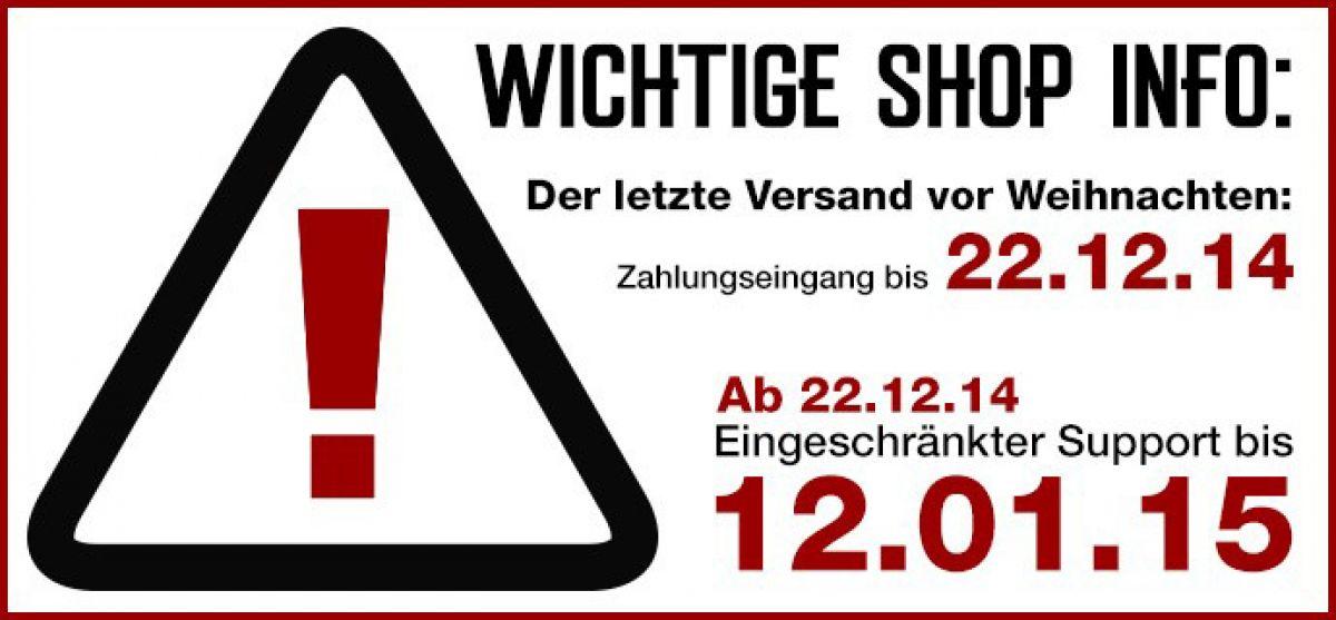 Shop Info: Letzter Versand vor Weihnachten | Blog | Frei.Wild